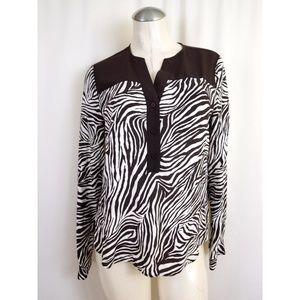Michael Kors Size M Brown Off White Top